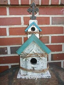 14 Inch Tall Antique Wooden Distressed Church Birdhouse Twig Wrapped