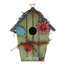 2 Pieces Country Cottages Wood Bird House Hanging Birdhouse Garden Decor