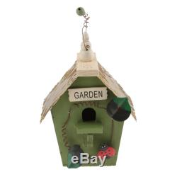 2x Hand-painted Country Natural Wood Birdhouse for Garden Outside Decoration