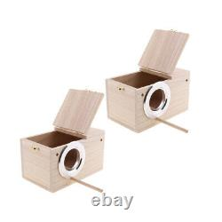 2x Wood Breeding Nest Box Bird Finch Parrot Nesting Aviary House withStick S