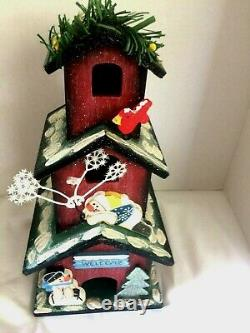 3 Story-3 Nest Birdhouse 12Tall Winter Theme