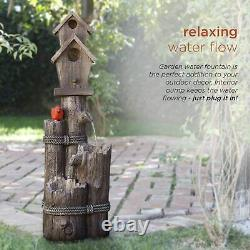3 Tiered Bird House Garden Water Fountain Cascade Rustic Faux Log Wood Style