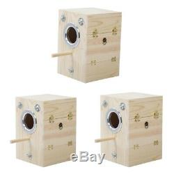 3pcs Bird Parrot Nest Breeding Box Cage Wood House for Finch Cockatiel Budgies