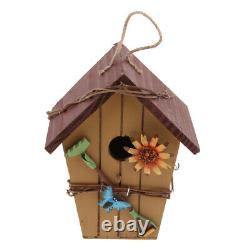 3x Country Wooden Wood Bird House Nest Birdhouse with Hanging Rope for Garden