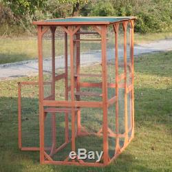 5.9ft H Wood Large Catio Outdoor Outside cat enclosure Birds House Waterproof