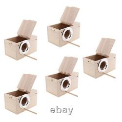 5-Pack Parakeet Wood Breeding Nest Box Finch Nesting Aviary House withStick S