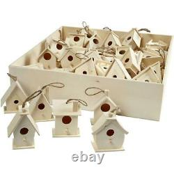 60 x Wooden Bird House With String Assortment Hanging Home Decoration Crafts 7cm