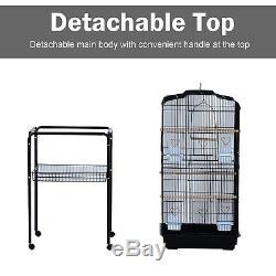 63 Large Rolling Bird Cage Parrot Cockatiel Play House Perch Swing Black