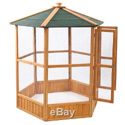 64 Wooden Aviary Hexagonal Flight House Cage Ideal for Birds Parrot Poultry