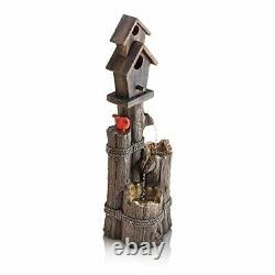 Alpine Corporation WCT1002 Three-Tiered Birdhouse withCardinal Fountain 35 Inch