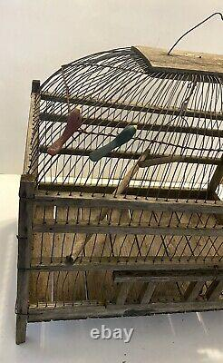 Antique OOAK Rustic Wood and Wire Bird Cage 17 L x 11 W x 18 H -Swing, Peerch