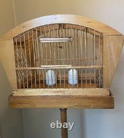 Antique Vintage Hendryx Bamboo Birdcage Solid Wood Stand Milk Glass Food Dishes