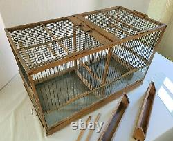 Antique Vintage Wood and Wire Double Birdcage Hand Made 24 x 15 x 12