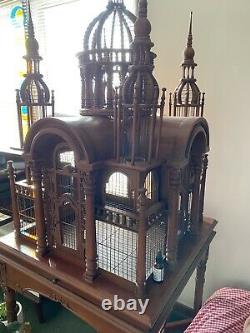 Antique Wood & Wire Collectable Victorian Cathedral Domed Bird Cage