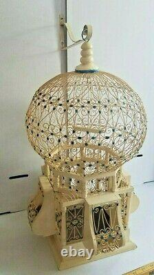 Antique Wood and Wire Victorian Hot Air Balloon Top Bird Cage with Bracket