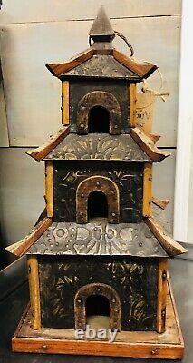Authentic Antique Vintage Handcrafted Asian Pagoda Birdhouse