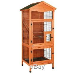Aviary Tall Large Wooden Bird House Cage Habitat with Roof Indoor Outdoor New