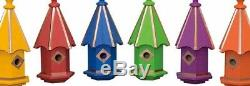 BIRDHOUSE & COPPER BIRD FINIAL Amish Handmade Large House in 7 Vibrant Colors