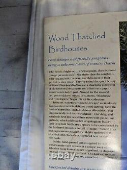 BRADFORD 1998 Wood Thatched Bird House Ornaments FULL Collection16+Box&COA B7