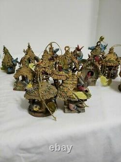 BRADFORD Wood Thatched Bird House Ornaments Lot of 16