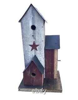 Barn Wood Bird Town Bird Houses 3 Houses with Perches