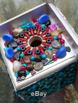 Beautiful Bead, Natural Stone and Abalone Shell Mosaic Handcrafted Birdhouse