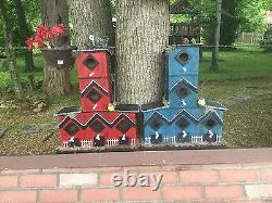 Beautiful HandMade 5 Family Red Wooden Bird House Mounted Well Made