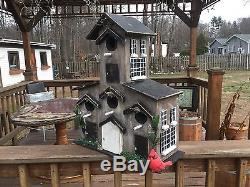 Beautiful Handmade 5 Faimly Condo Style Bird House Post Mount Nicely Accented