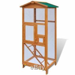 Bird Aviary Outdoor Bird Cage Solid Wood 2 Doors Mesh Wooden House Feeding Home