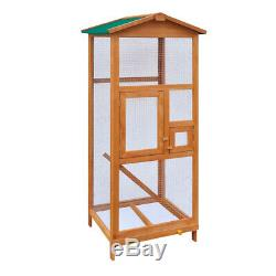 Bird Cage Aviary with Metal Grid Flight Cages Bird House Wood Color & Green