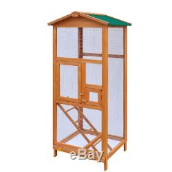 Bird Cage Large Wood Aviary with Metal Grid Flight Cages for Finches Bird House
