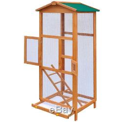 Bird Cage Large Wood with Metal Grid Flight Cages for Bird House Wood Green