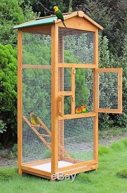 Bird Cage Wooden Large Outdoor Crate Pet Parrot Canary Parakeet Play House