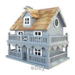 Bird House Light Blue Wooden Cottage with Removeable Back