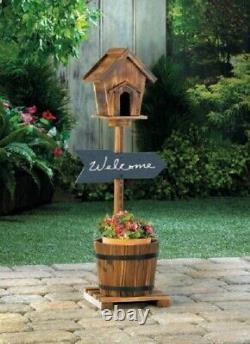 Bird Houses For Outside Birdhouses Outdoors Tall Planters Rustic Whiskey Barrel