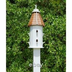 Birdhouse Feeder Post Mounted Bird House Wood Home Outdoor Station 2 Level Lawn
