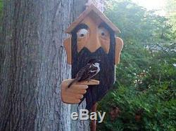 Birdhouse. Wood spirit carvings. Wood carving gnome collectible bird house