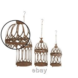 Brown Iron Hanging and Standing Round Birdcages (Set of 3)