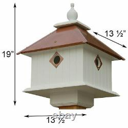 CARRIAGE BIRD HOUSE WITH HAMMERED COPPER COLORED METAL ROOF by A WING & A PRAYER