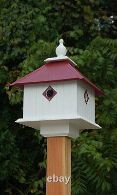 CARRIAGE BIRD HOUSE WITH MERLOT RED ROOF by A WING & A PRAYER