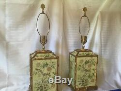 CHELSEA HOUSE pair table LAMPS birds CHINOISERIE gold trim EXCELLENT