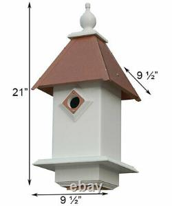 CLASSIC BLUEBIRD HOUSE HAMMERED COPPER COLORED METAL ROOF by A WING & A PRAYER
