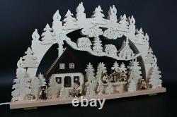 Candle Arches With Winter Figures And Bird House Size = 70x43cm New Light Bow