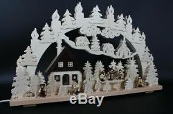 Candle Arches with Winter Figures and Bird House Size = 27 5/8x16 7/8in New