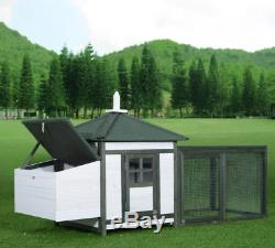 Chicken Coop Hen House With Run Poultry Rabbit Hutch Large Duck Birds Yard Home