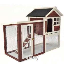 Chicken Poultry Coop Hen House Rabbit Bird Pet Hutch Cage Deluxe with Nesting Box
