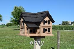Cottage Birdhouse handmade reclaimed wood Tan and Black POST NOT INCLUDED