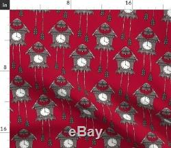 Cuckoo Clock Bird House Time Red Wood 100% Cotton Sateen Sheet Set by Roostery