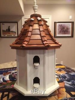 Custom Made, Hand-Crafted Bird House (Unique), Cedar Roof, 8 Divided Rooms, New