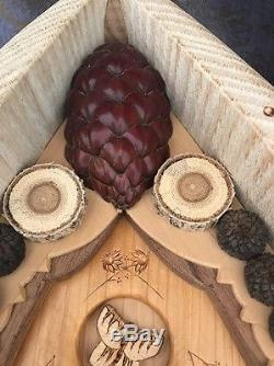 DECORATIVE BIRD HOUSE Wood Carved Hand Made One Off A Kind